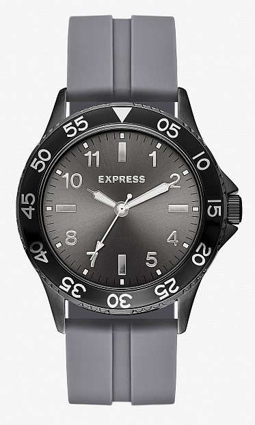 Gray analog rubber strap watch