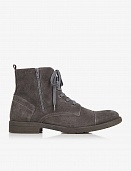 Gray suede double zip boot