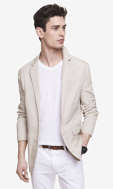 Khaki cotton-linen blazer