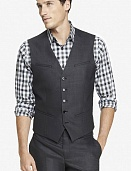 Gray end-on-end suit vest