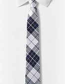 Navy and white plaid narrow tie